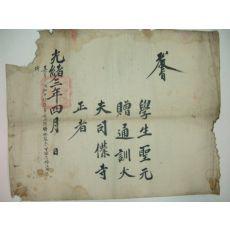 1877년(光緖3年) 학생(學生)성원(聖元) 사복사정 교지
