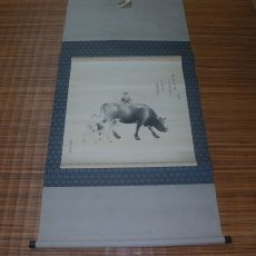 39-소를 탄 동자 그림 족자