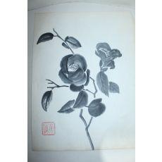 수묵화 꽃 그림